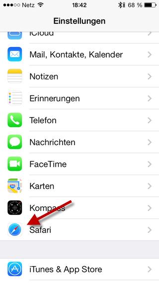 Einstellungen iPhone