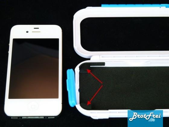 Schaumstoffecken zum fixieren des iPhone 4 oder 4s