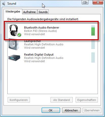 Wiedergabe Geräte unter Windows