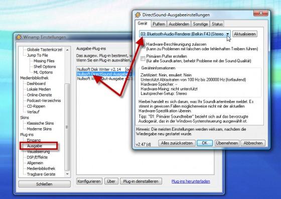 Einstellungen für separate Bluetooth-Ausgabe bei Winamp