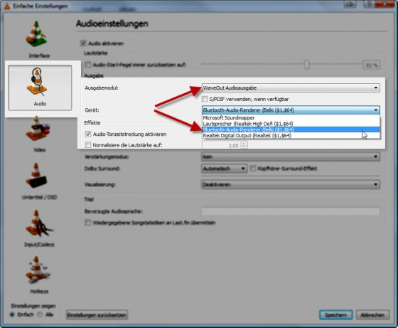 Einstellungen für Bluetooth-Ausgabe im VLC