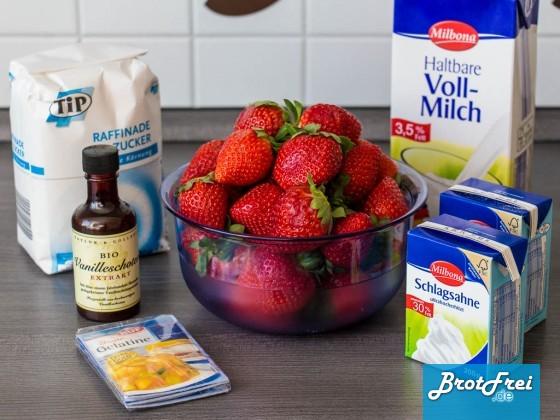 Zutaten für das Erdbeer-Pannacotta