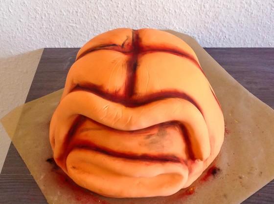 Bemalter Halloween Kürbis Kuchen
