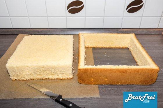 Tortenboden mit ausgeschnittenem Kern